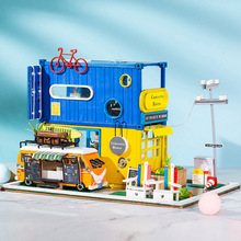 LED Road container doll house furniture diy dollhouse wood diy doll house miniature dollhouse furniture children puzzle Toy gift