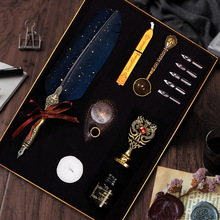 Luxury Feather Dip Pen Set Vintage Sprinkling Gold Wax Seal Stamp Kit Calligraphy Writing Fountain Pen Birthday Gift Box Quill