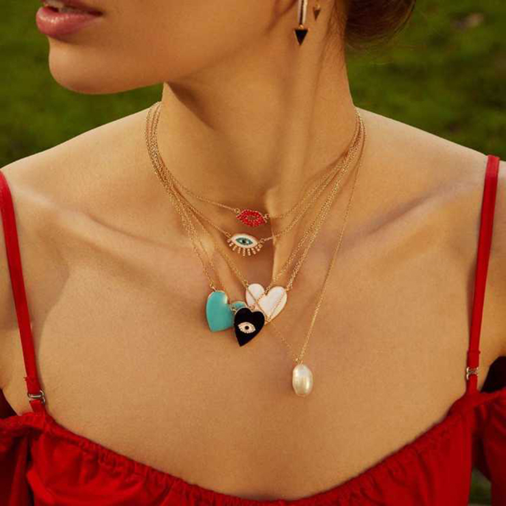 Best Lady 2019 New Heart Statement Necklace For Women Wedding Bohemian Cute Girls Party Gifts Crystal Eye Pendant Necklace Hot