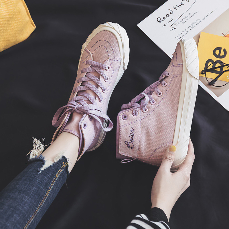 Woman Shoes 2020 Spring New Fashion Women Canvas Shoes Casual Breathable Solid High Top Women Casual Shoes Sneakers Woman