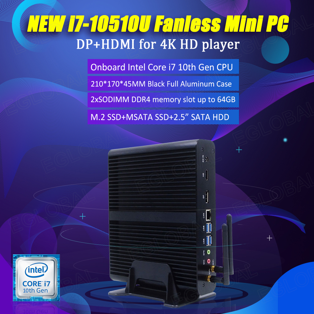 Intel Latest Comet Lake Core I7 10510U 64GB DDR4 NVME SSD Windows 10 Pro Fanless Gaming Computer Desktop 4K  HDMI DP RTC MINI PC