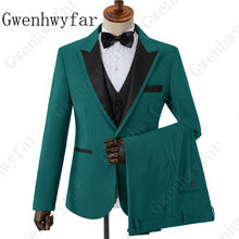 Gwenhwyfar Custom Made Teal Beige Yellow Green Purple Brown Business Suit Men Tide Groom Tuxedo for Wedding(Jacket+Vest+Pants)(China)