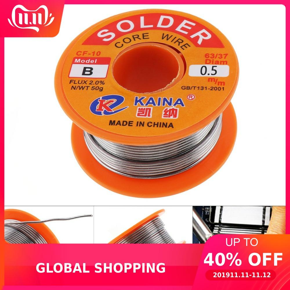 Electronic Product Maintenance 50g 63/37 Tin Fine Wire Core 0.5mm 2% Flux Reel Welding Line Solder Wire