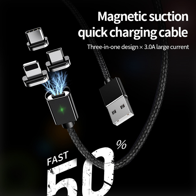 2M Magnetic Micro USB Cable For iPhone Samsung Fast Charging Data Wire Cord Magnet Charger USB Type C 3A 3
