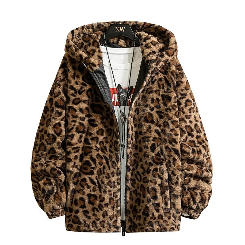 Fashion New Warm Love Winter Jacket Men Coat Woman Hooded Faux Fur Leopard Casual Slim Parka Men's Winter Coat