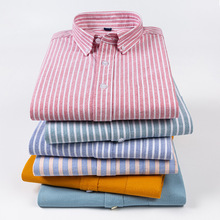 Mens Dress Shirts Chemise Collar Oversized Long-Sleeve Slim Button-Down Striped Winter