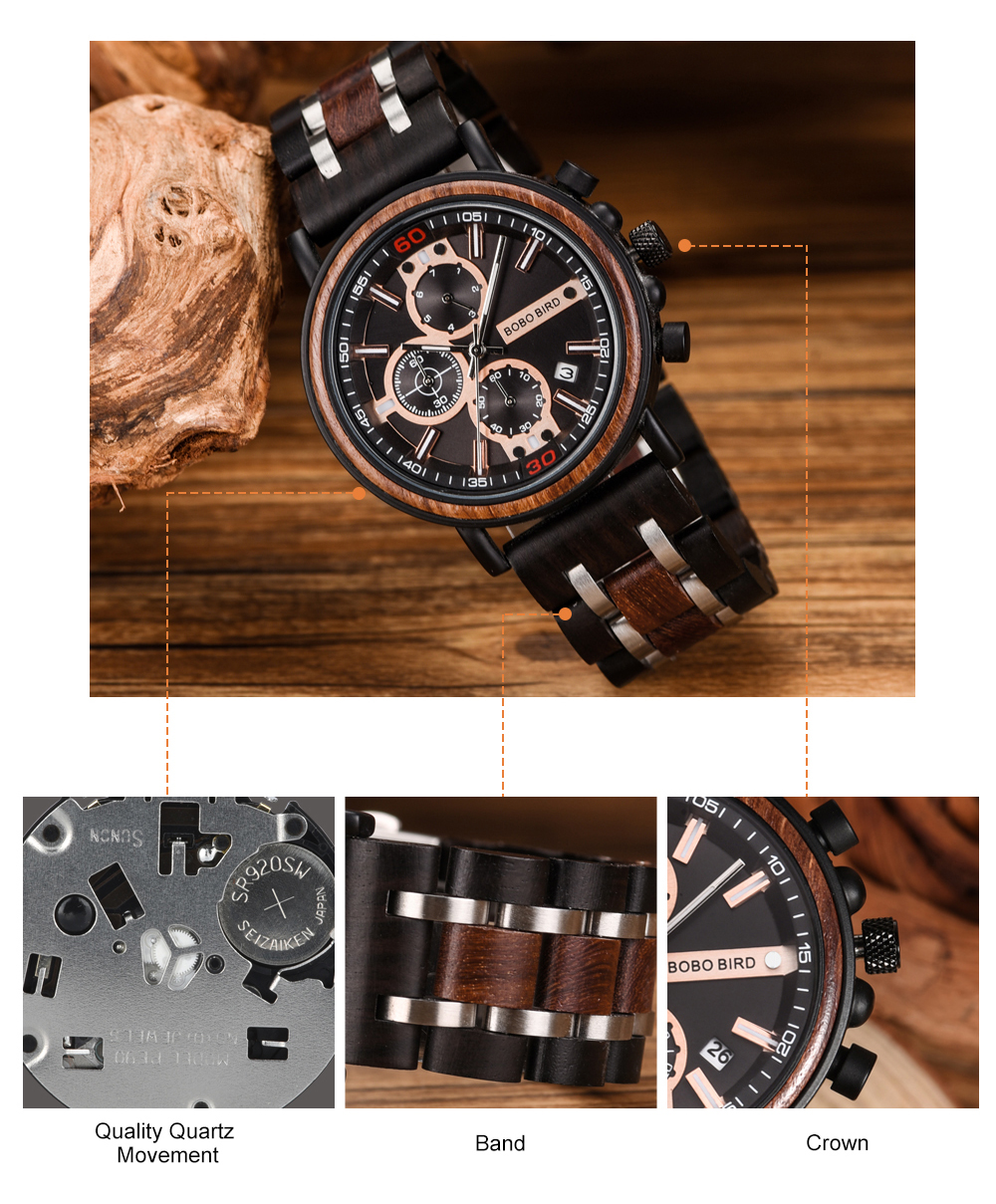 BOBO BIRD Personalized Wooden Watch Men Relogio Masculino Top Brand Luxury Chronograph Military Watches Anniversary Gift for Him H7da4b3f72ed8435a8518f3315ddb0a404