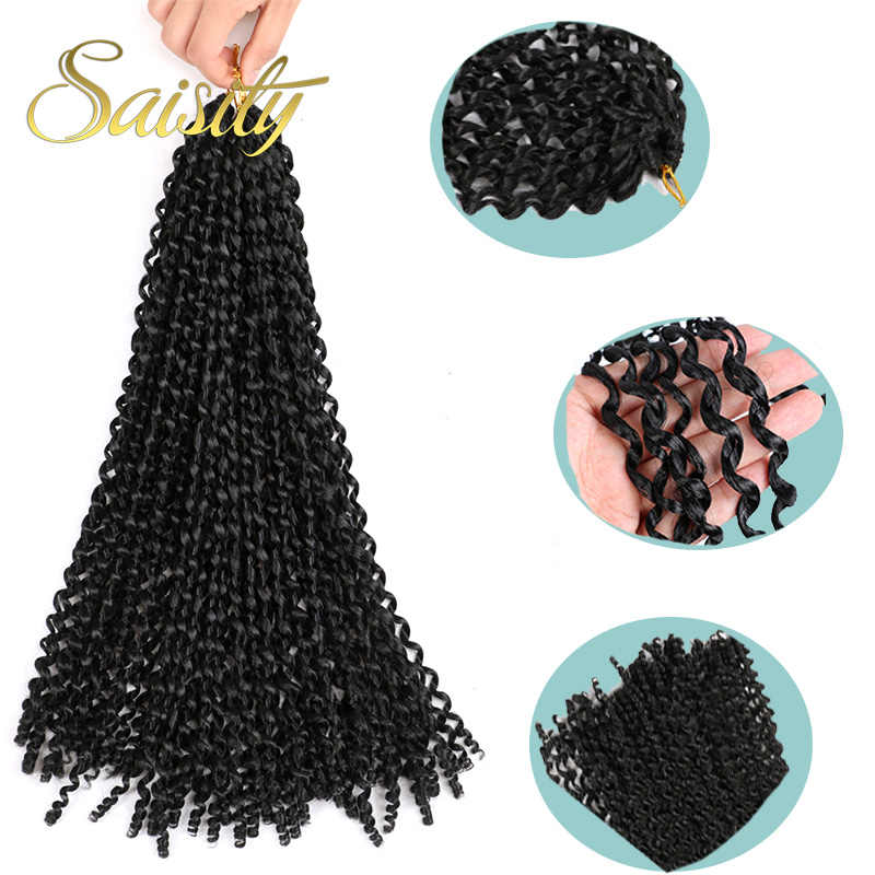 Saisity Ombre Crotchet pelo pasión primavera gira extensiones sintéticas fibra Pre looped esponjosas trenza pelo a granel