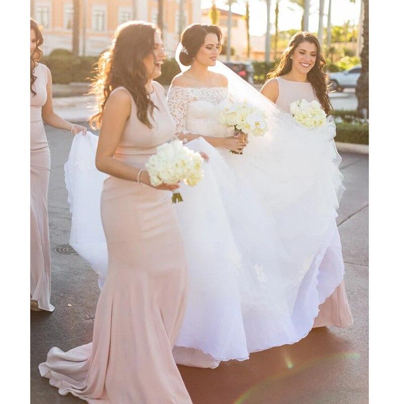 Mermaid Elegant 2020 Bridesmaid Dresses Long Satin Vestidos De Festa Sleeveless Wedding Guest Dress High Quality Vestido Longo