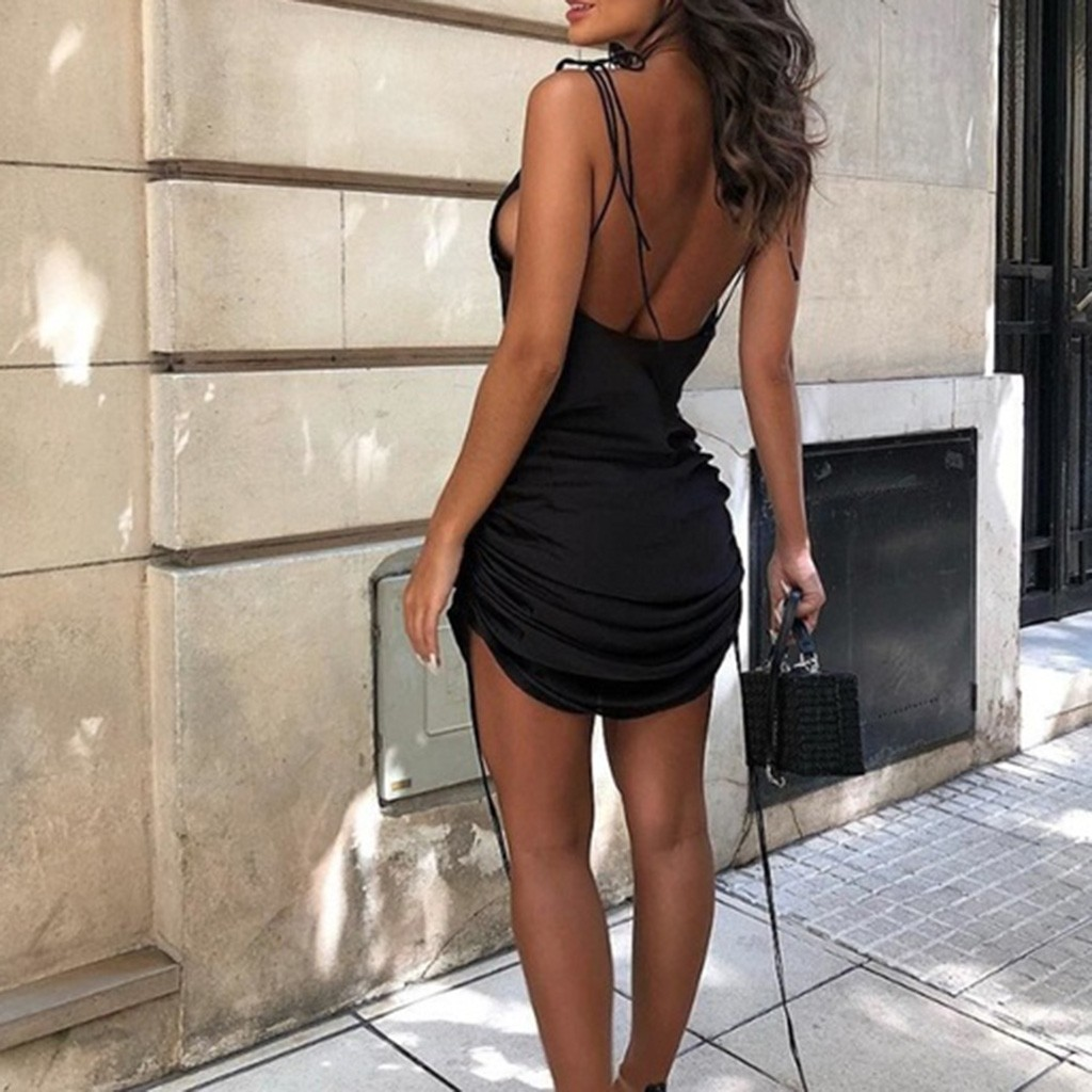 vestido de mujer Women's Fashion Sexy Elegant Sleeveless Bandage Backless Solid Ruched Mini Dress femme robe платье 2021