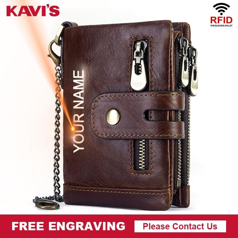 KAVIS Free Engraving Rfid Genuine Cow Leather Wallet Men Coin Purse Male Cuzdan PORTFOLIO MAN Portomonee Small Walet Pocket