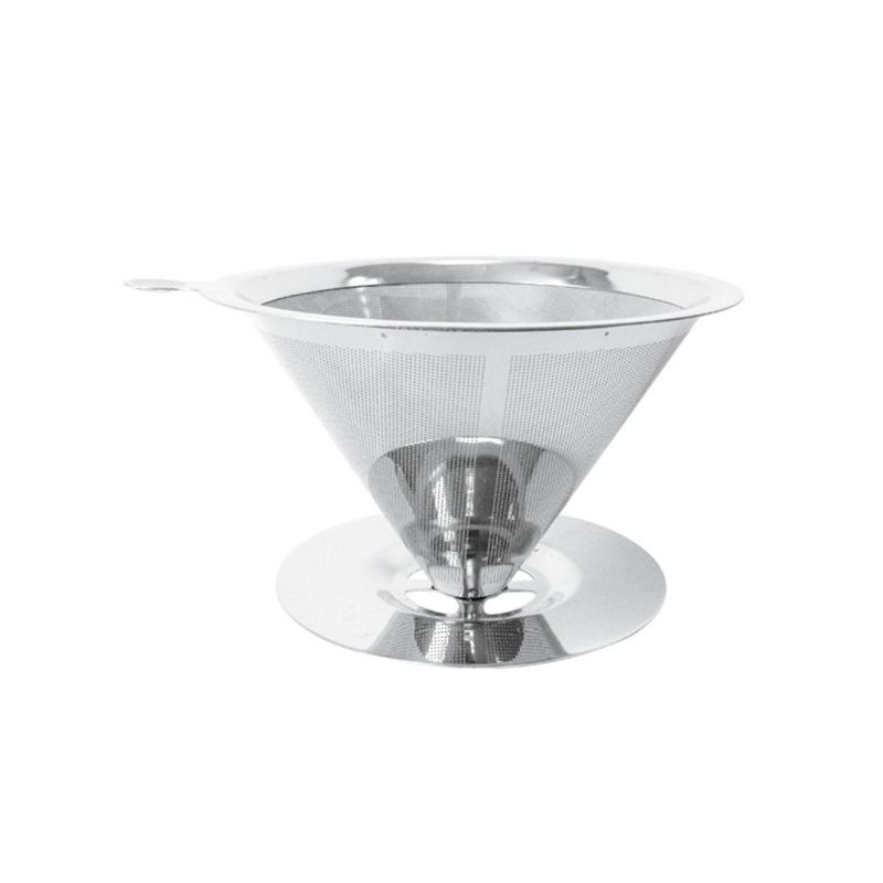 Pour Over Coffee Dripper Stainless Steel Reusable Drip Cone Coffee Filter