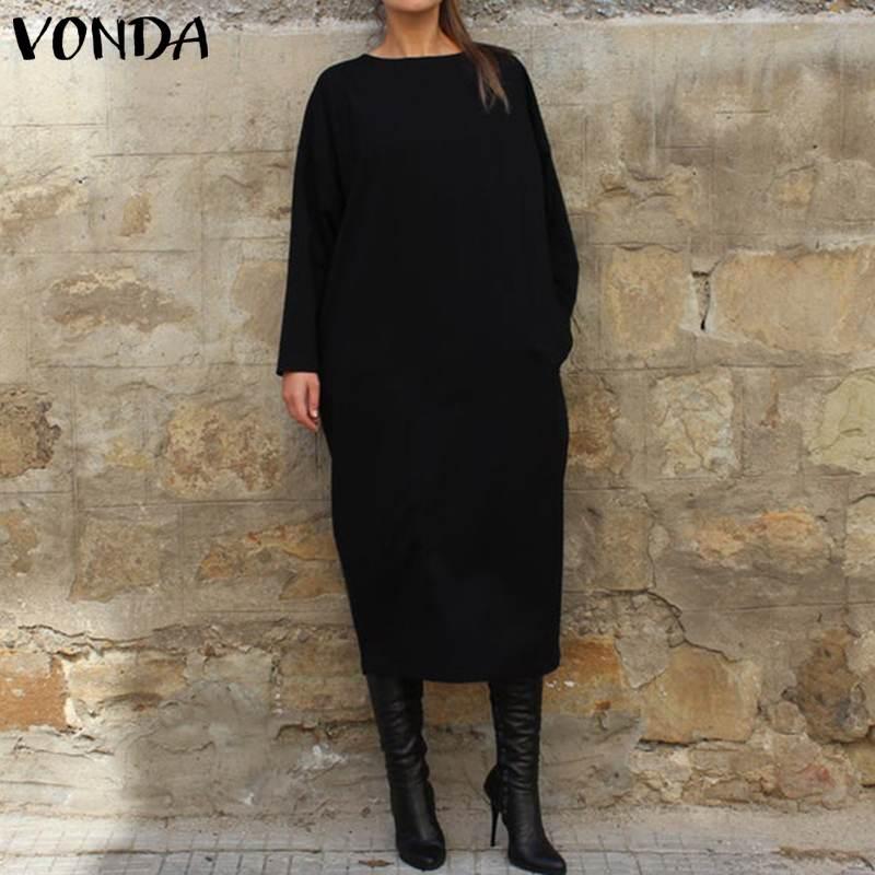 VONDA Women Autumn Long Dress ...