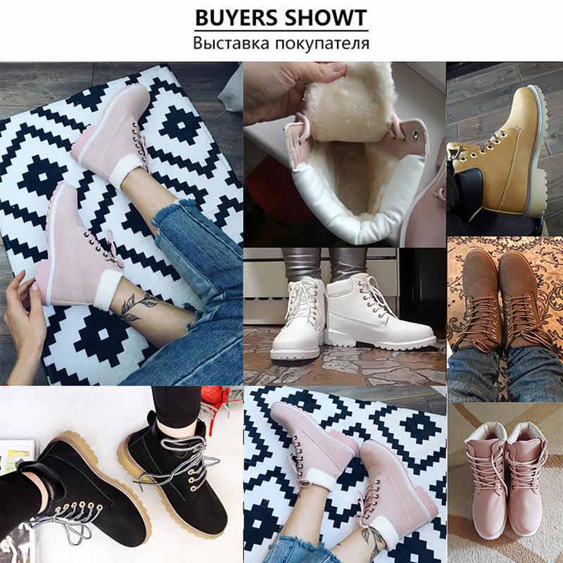 Ayak bileği çizmeler kadın ayakkabıları 2019 sıcak peluş martin kar botları deri kış ayakkabı kadın sıcak kürk peluş astarı beyaz botlar kadın