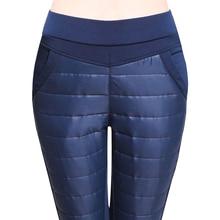 Pantaloni delle donne di Grandi Dimensioni Più Il Formato 6XL Inverno Anatra Imbottiture Caldo Femminile di Usura Esterno A Vita Alta Skinny Velluto Addensare Imbottito pantaloni Pantaloni