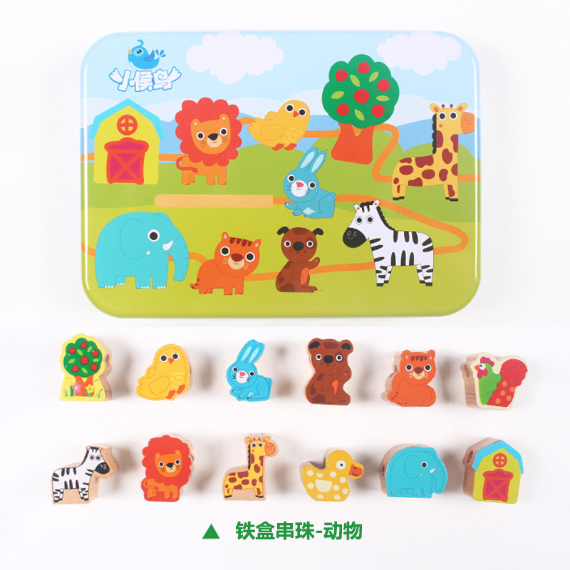 New Style Hot Sales Wooden Iron Box Beaded Bracelet Children Animal Cartoon Cognitive Hand-Eye Coordination Child Educational Sc