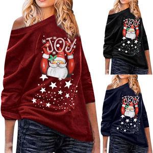 Mulheres senhoras natal santa topos manga longa casual pulôver t camisa blusa