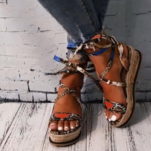 Sarairis Wedges Heels Fashion Wholesale Shoelaces Snake Printed Summer INS Hot Shoes Women Sandals Big Size 35-43