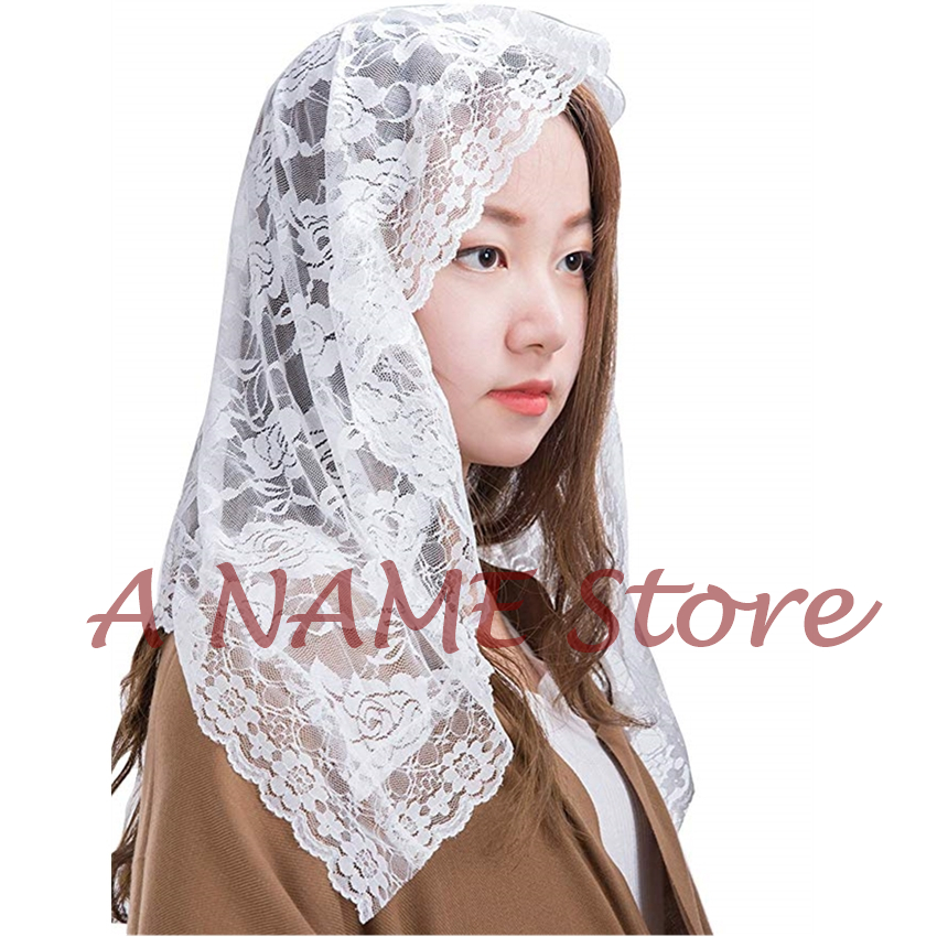 Infinity Mantilla Veils Catholic For Church Little Girls' Kids Headcovering First Communion Lace Veil Small White Black Mantille