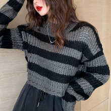 Rosetic-Jersey corto a rayas para mujer, Jersey de punto informal, ropa de calle, suéteres góticos de punto grises y negros 2020