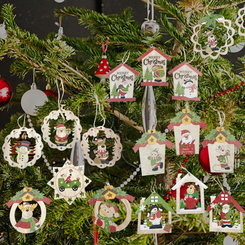 Santa Claus Christmas Tree Decoration Wooden Pendants Ornaments for Home 3Pcs