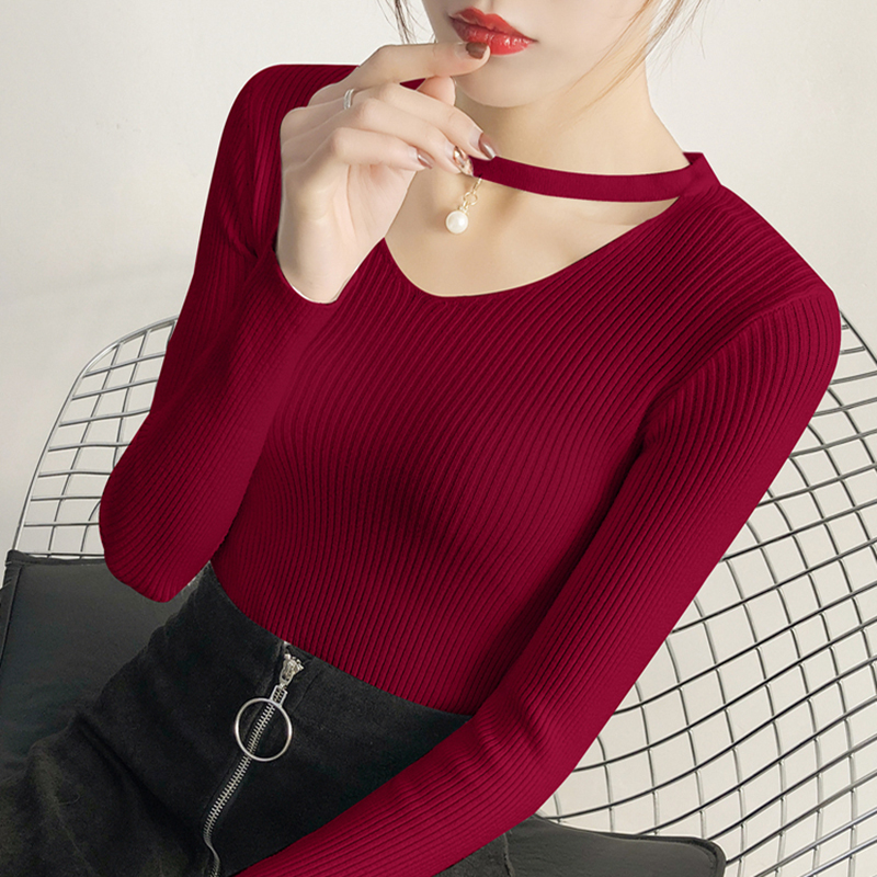 Fashion Sweater Women 2019 Autumn Winter Long Sleeve Sexy V-Neck Sweaters Tops Basic Soft Slim Knitted Pullover Burgundy
