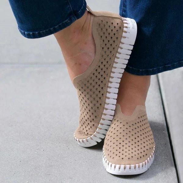 Casual Shoes Women Summer Sneaker Fashion Hollow Out Flats Shoes Slip On Comfortable Lazy Walking Shoes Women Vulcanized Shoes