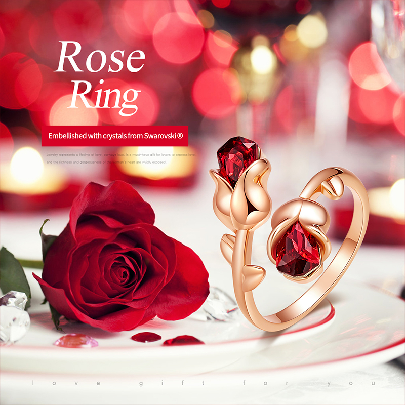 Cdyle Luxury Brand Jewellery Light Siam Crystals Rose Flower Adjustable Ring for Women Valentine Gift Free Shipping 1