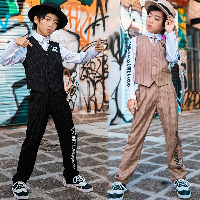 Hip Hop Dance Costumes Boys Vest Suit Mechanical Dancing Clothes Hip Hop Set Street Dancewear Jazz Stage Performance Wear DN4682