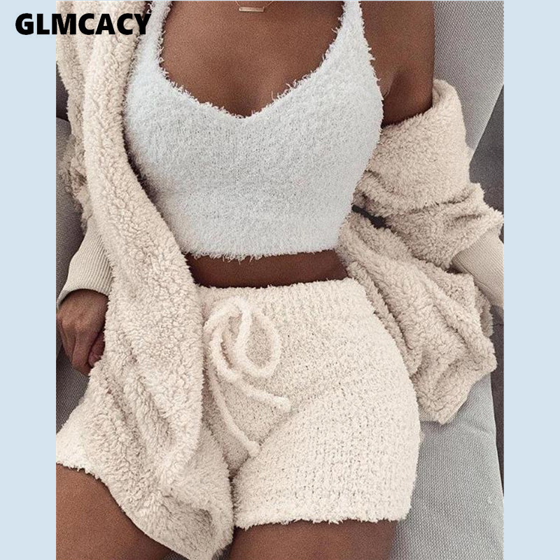 Women Two Piece Matching Sets Mohair Long Sleeve Top & High Waist Elastic Wasit Bodycon Shorts Fluffy Warm Suit