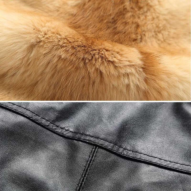 Erkekler kış yelek taktik Masculino ceket hakiki tilki deri yelek kürk ceket ve ceket sıcak moda yelek 19063-5