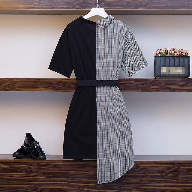 High Quality Irregular patchwork Dress Women 2019 New Casual office lady Vintage Dress with belt Vestido plus size 2