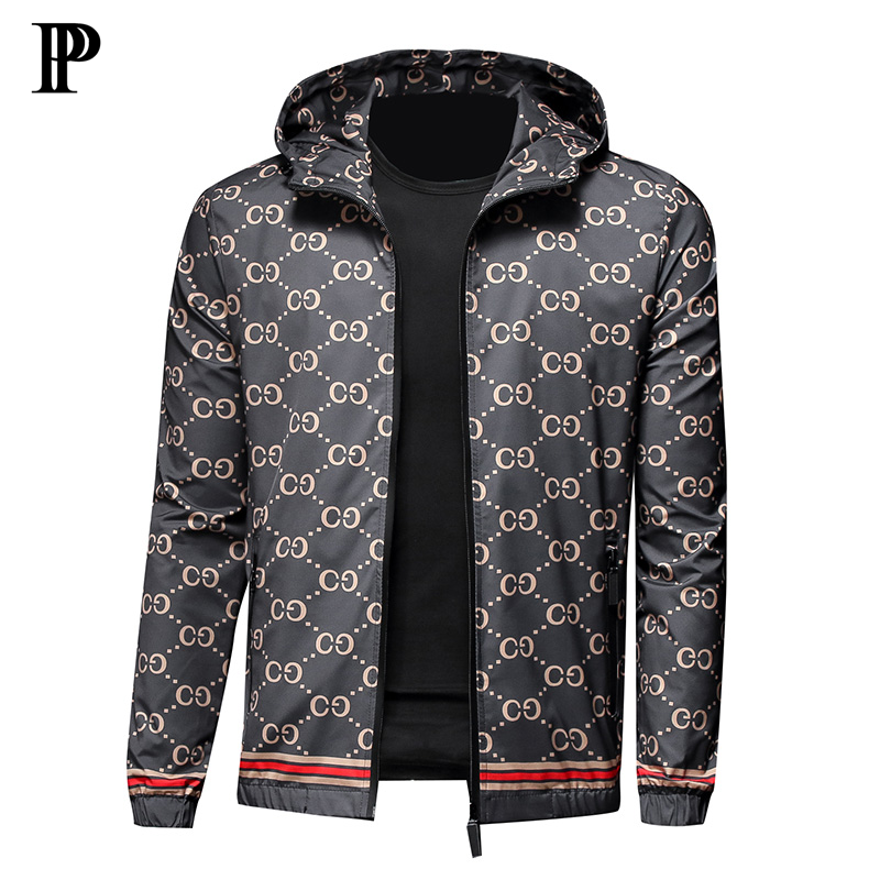 2020 New men's jacket slim hooded jacket men printed coat title=