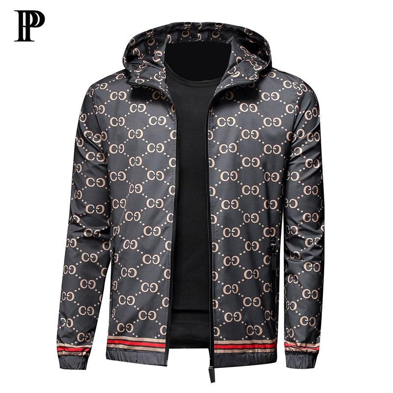 2020 New Men's Jacket Slim Hooded Jacket Men Printed Coat