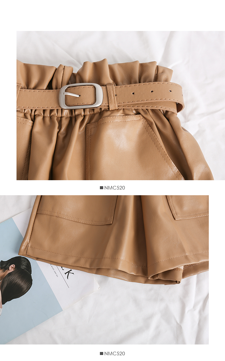 Elastic High Waist Loose PU Leather Shorts Women England Style Sashes Wide Leg Short Ladies Sexy Leather Shorts Autumn Winter 33