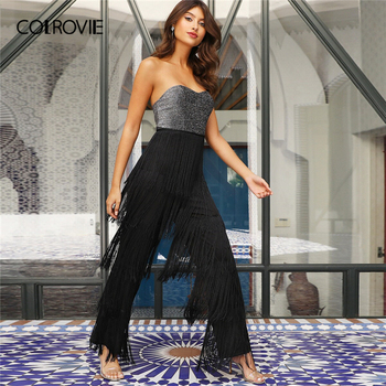 COLROVIE Layered Fringe Detail Glitter Tube Combo Jumpsuit Strapless Maxi Romper Women 2019 High Waist Straight Leg Jumpsuits