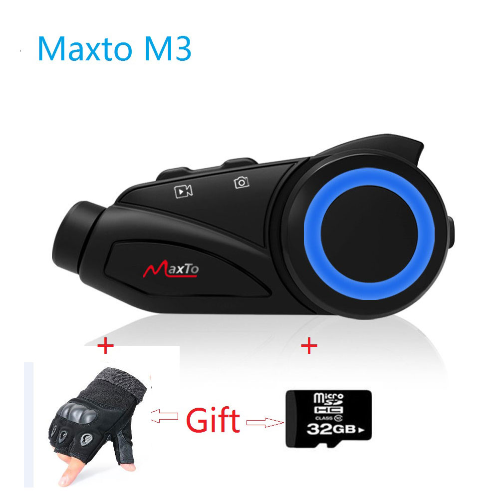 Maxto M3 casque de Moto Interphone Bluetooth WIFI Recorer groupe 6 coureurs Moto Interphone tableau de bord caméra Fit V8 BST3 + L gants gratuits