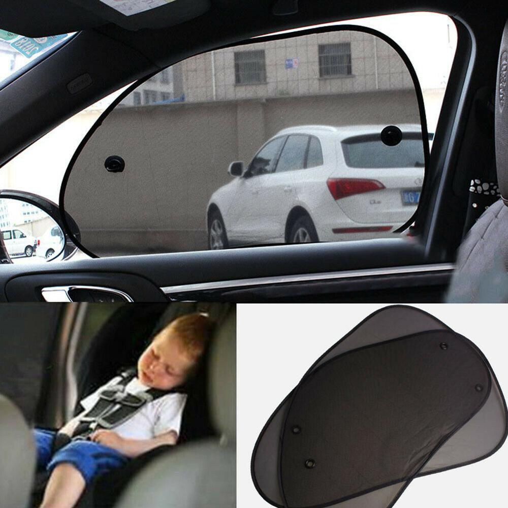 2X Car Side Window Sun Shade Curtain Rear Anti UV Kid Baby Block Mesh Applicable