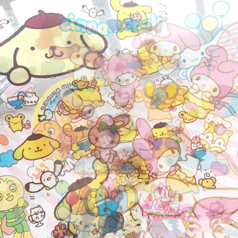 1 Sheet 2020new My Melody Little Twin Stars Cinnamoroll Pudding Dog PVC Sticker Decoration Index Stickers Toys for Kids Toys