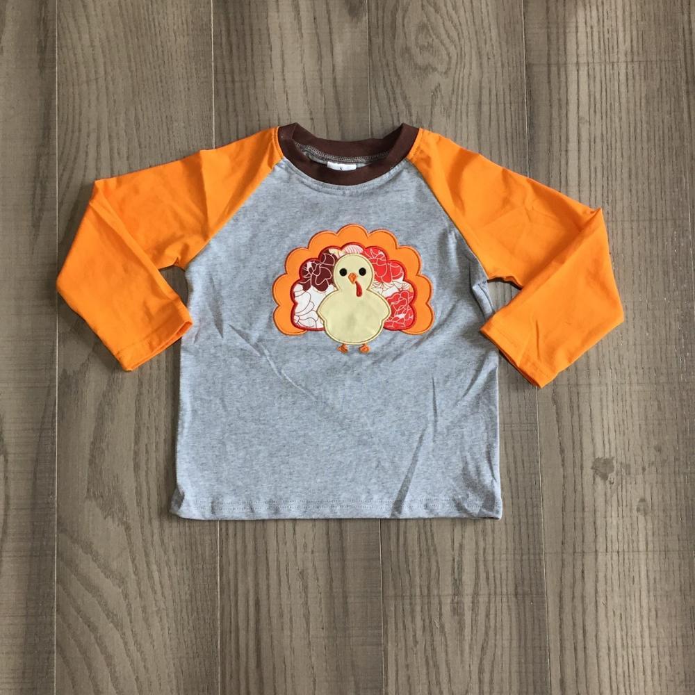 Girlymax fall/winter baby boys thanksgiving cotton long sleeve top t-shirt raglans orange grey turkey children clothes 1