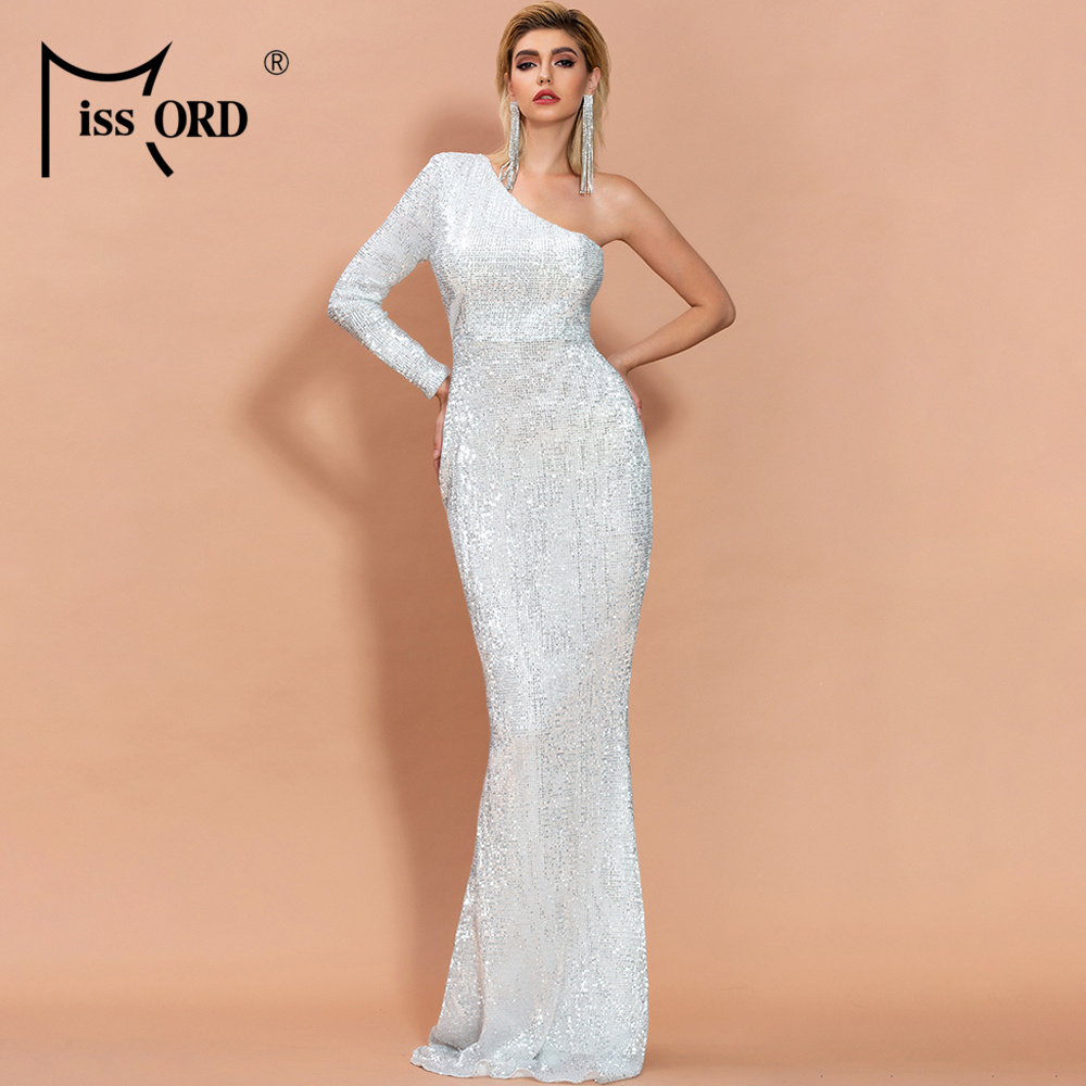 Missord 2020 Womem Irregular Neck Off Shoulder One Sleeve Dresses Female Elegant Sequin Bodycon Maxi Dress  FT20224-1