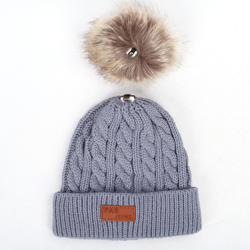 2019 new high quality winter children's pompom knit beanie Boys girls Solid color casual hat Kids warm Soft cap Baby beanies 4