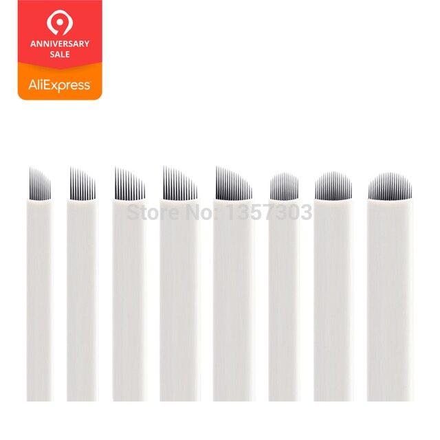 50個ホワイト0.20ミリメートルmicroblading針ラミナtebori 7 9 11 12 14フレックスブレードu形状アートメイク針刃