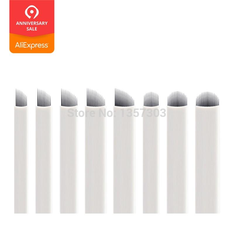 50pcs White 0.20mm Microblading Needles For Tattoo Lamina Tebori 7 9 11 12 14 Flex Blades U Shape Permanent Makeup Needle Blade