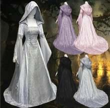 Женское платье принцессы с длинным рукавом и капюшоном длиной