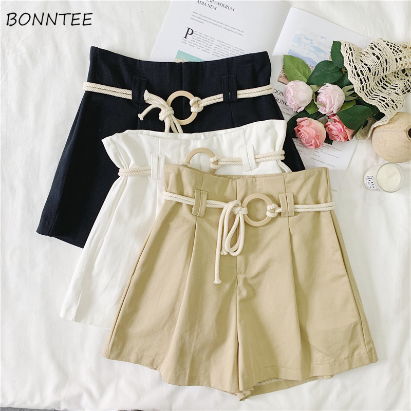 Shorts Women Solid Loose All-match Sashes Trendy Summer Breathable Female Korean Style Womens Casual High Quality Elegant Chic