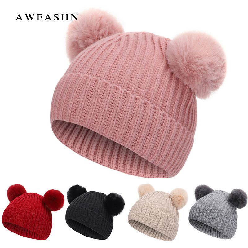 Winter 1-7 Year Old Children's Hat Hat / Scarf Fur Baby Hat Hat Cotton Pom Pom Knitted Warm Hat Kid Furry Ball Hat Set Hat 2019