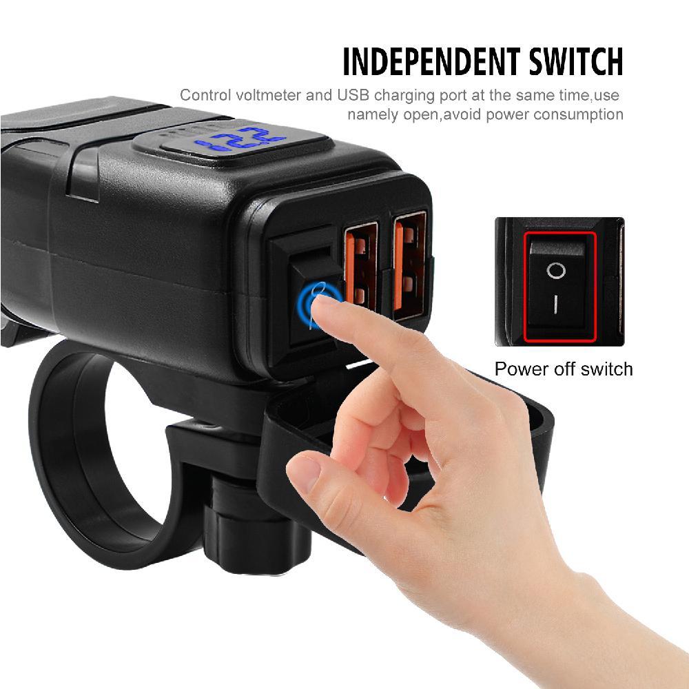 Motorrad Fahrzeug-montiert Ladegerät Wasserdicht Dual QC 3,0 Quick Charge 12V Telefon Ladegerät Voltmeter Schalter Motorrad Teile