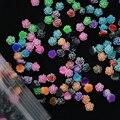 Harz Rose Blume-100 stücke 6mm 12 Farben Rose Blumen Cabochon Cameo Basis Einstellung 6mm 3d türkis rose blumen nail art decor