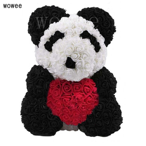 Image 4 - Valentines Day 40cm Rose Bear Artificial Flower Roses Girlfriend Gift Ornaments Teddy Bear of Rose Decorations Foam Flower Head